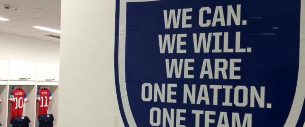 PHOTO: An inspirational quote in the US mens soccer team locker room.