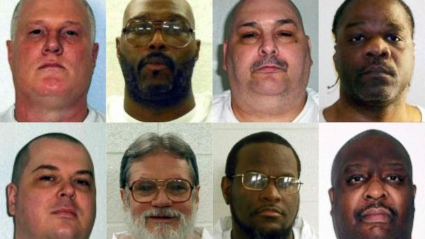 PHOTO:Mugshots of the Arkansas death row inmates (top row L-R) Don William Davis, Stacey Eugene Johnson, Jack Harold Jones and Ledelle Lee; and (bottom row L-R) Jason F. McGehee, Bruce Earl Ward, Kenneth D. Williams and Marcel W. Williams.