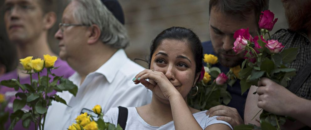 PHOTO: A woman cries during a vigil near the Finsbury Park Mosque in London, on June 19, 2017. Worshippers were struck by a hired van as they were leaving the mosque after Ramadan prayers.