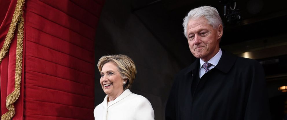 PHOTO: Former US President Bill Clinton and First Lady Hillary Clinton arrive for the Presidential Inauguration of Donald Trump at the US Capitol in Washington, Jan. 20, 2017.