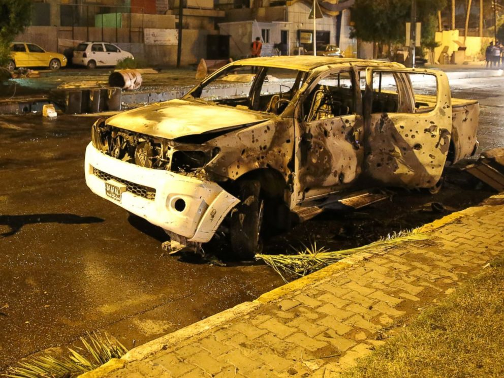 PHOTO: Security forces cordon the area after a road-side parked car-bomb attack in Karrada district of Baghdad, Iraq on May 29, 2017.