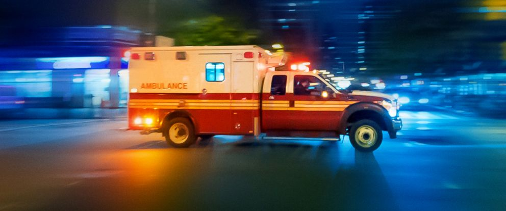PHOTO: An ambulance speeds at to an urgent call in Manhattan.