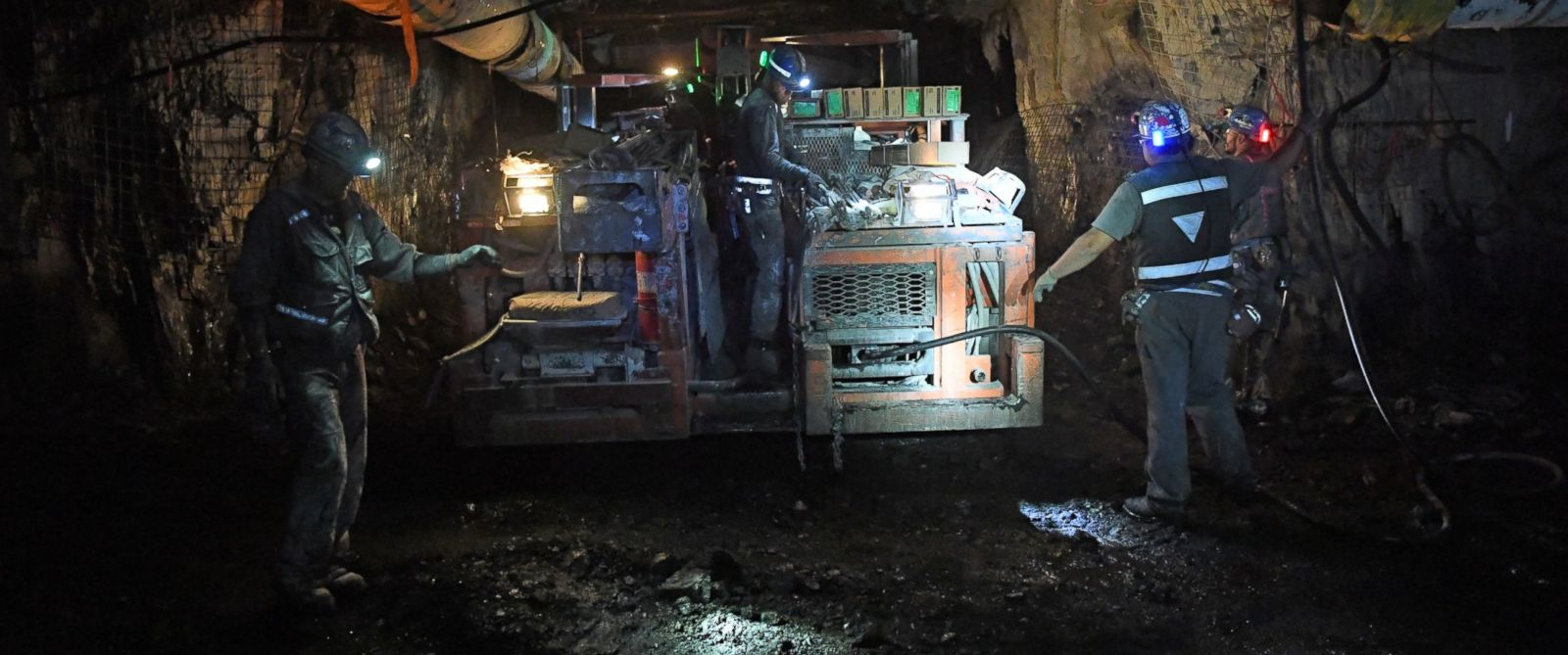 PHOTO: Seven miles into the West Elk Mine, workers continue to mine for coal, April 27, 2016. The mine is the last coal mine still operating in the area.