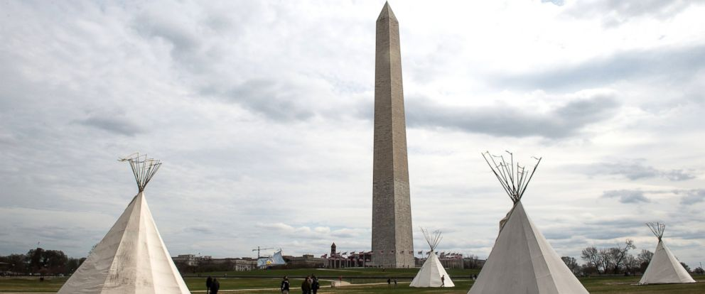 PHOTO: Teepees stand near the Washington Monument in Washington, March 7, 2017, at the start of a four-day protest against the Dakota Access pipeline.