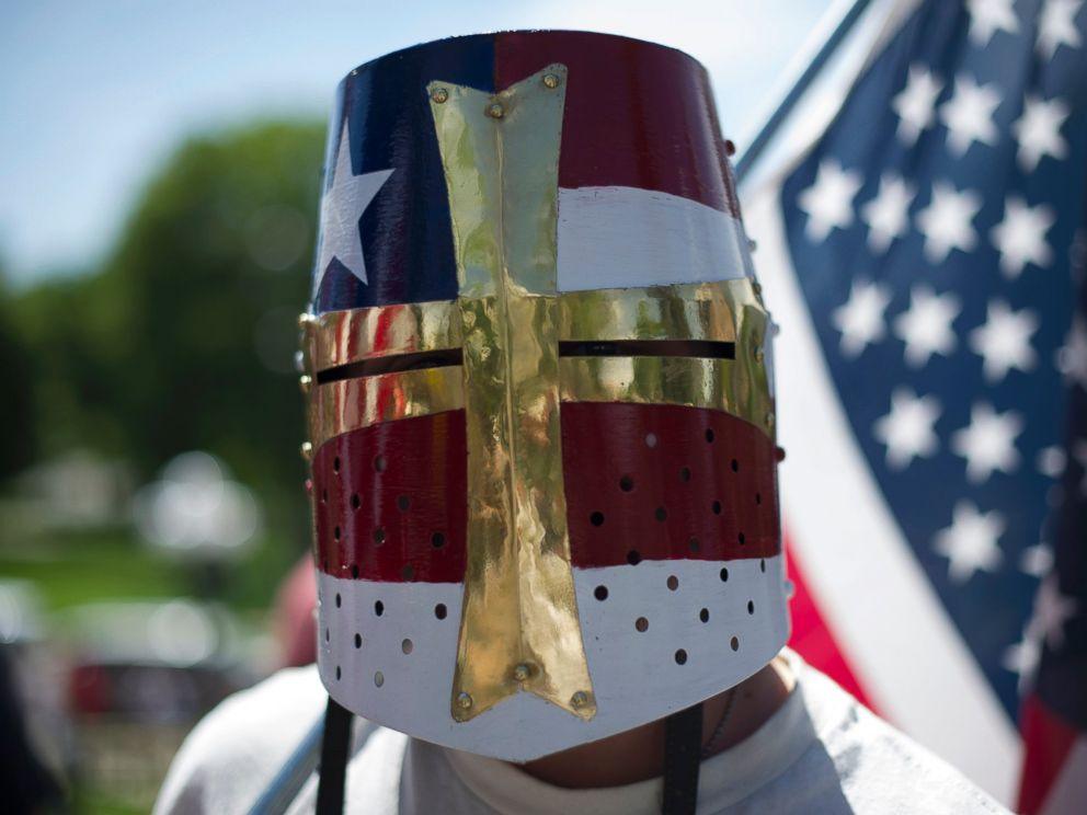 PHOTO: A right-wing demonstrator participates in the Denver March Against Sharia Law in Denver, June 10, 2017.