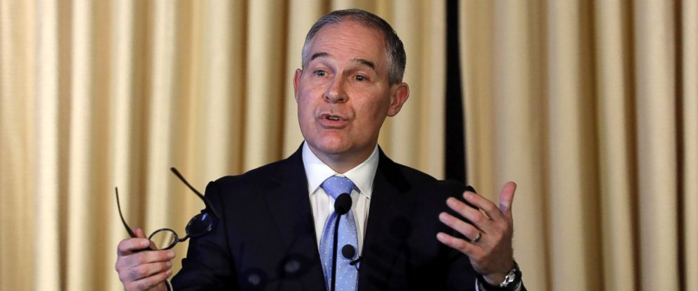 PHOTO: Environmental Protection Agency Administrator Scott Pruitt address employees at the agencys headquarters, Feb. 21, 2017, in Washington. Pruitt, long a critic of the EPA, faced a contentious confirmation fight in the Senate.