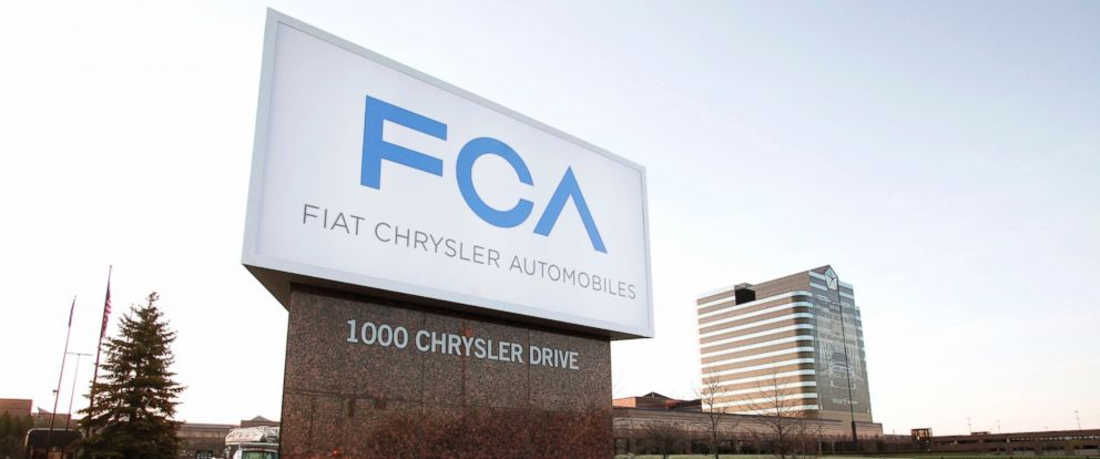 PHOTO: The Fiat Chrysler Automobiles (FCA) Group sign is shown at the Chrysler Group headquarters, May 6, 2014, in Auburn Hills, Michigan.