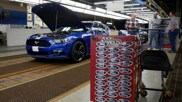PHOTO: A Ford Motor Co. Mustang vehicle stands on the production line at the company's assembly plant in Flat Rock, Michigan, Jan. 3, 2017.