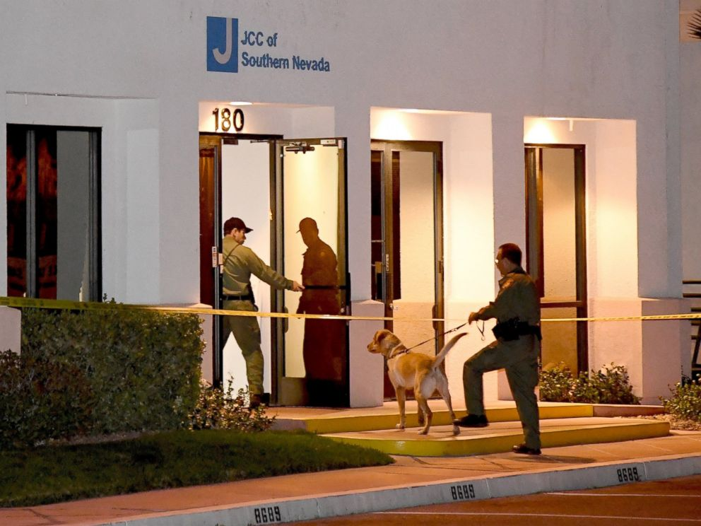 PHOTO: Las Vegas Metropolitan Police Department K-9 officers search the Jewish Community Center of Southern Nevada after an employee received a suspicious phone call that led people to evacuate the building, Feb. 27, 2017, in Las Vegas, Nevada.
