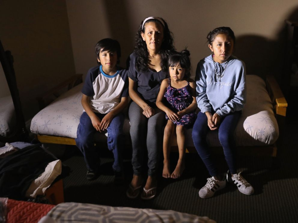 PHOTO: Jeanette Vizguerra, 45, sits with her U.S.-born children, Roberto, 10, Zury, 6, and Luna, 12 while taking sanctuary at the First Baptist Church, May 5, 2017, in Denver.