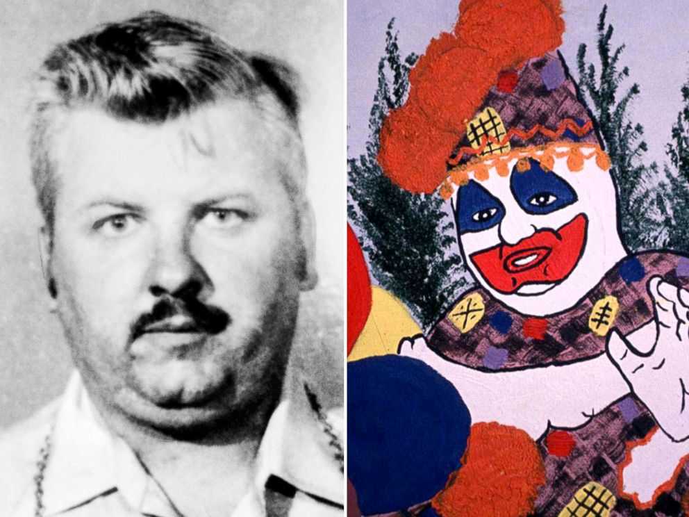 PHOTO: John Wayne Gacy, left, drew himself as Pogo the Clown in a self portrait, right, he did in prison.