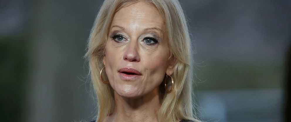 "PHOTO: Counselor to the President, Kellyanne Conway, appears on ""This Week with George Stephanopoulos,"" from the north lawn at the White House, Jan. 22, 2017, in Washington."