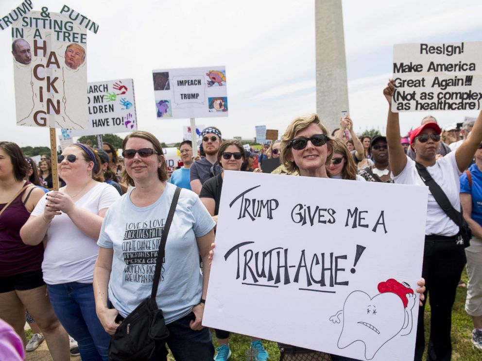 PHOTO: Demonstrators take part in the March for Truth rally on the National Mall in Washington, D.C., June 3, 2017.