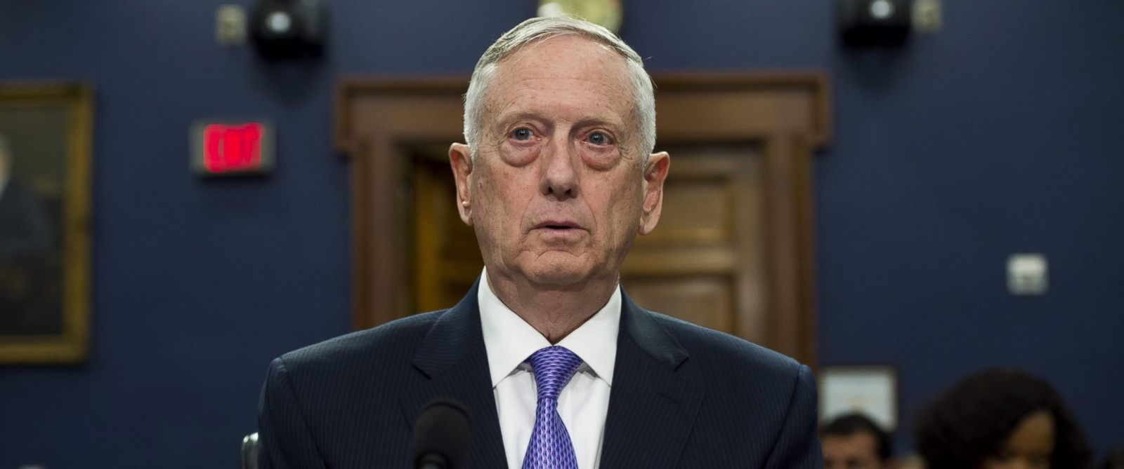 PHOTO: Secretary of Defense James Mattis arrives to testify on the Defense Department budget at a House Appropriations Committee Defense Subcommittee hearing on Capitol Hill in Washington, June 15, 2017.