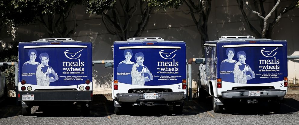 PHOTO: Meals On Wheels of San Francisco trucks sit idle on Feb. 27, 2013 in San Francisco.