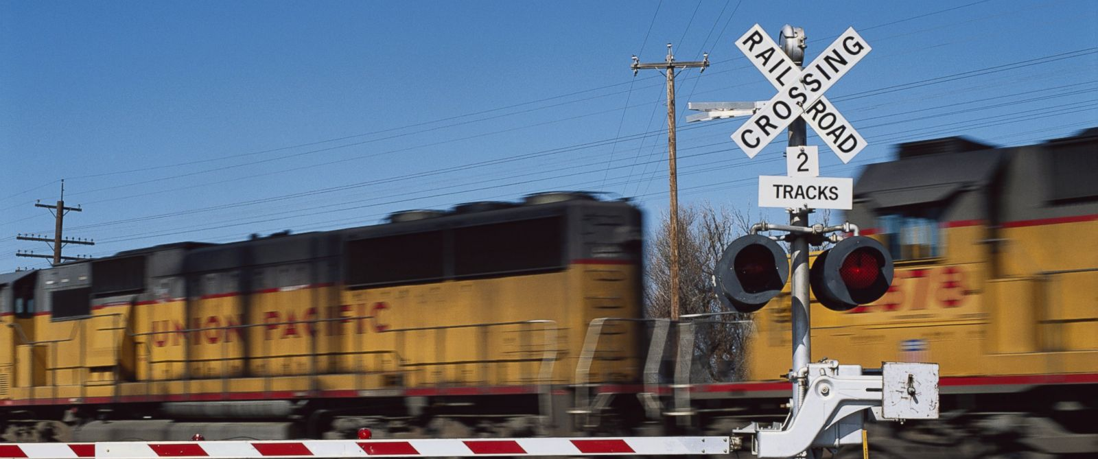 A railroad crossing is seen here.