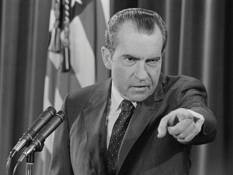PHOTO: President Richard Nixon holds a press conference.
