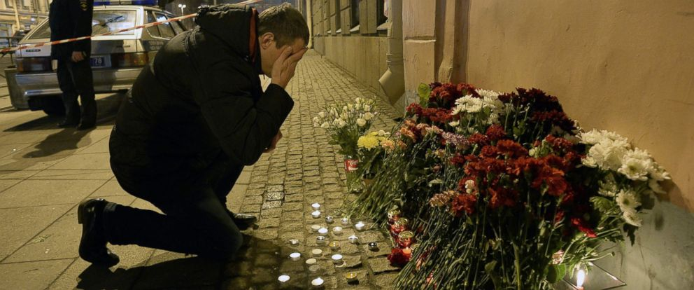 PHOTO: A man mourned victims of the blast, outside the Technological Institute station. President Vladimir Putin of Russia said an investigation was underway to determine if the explosion was an act of terrorism.