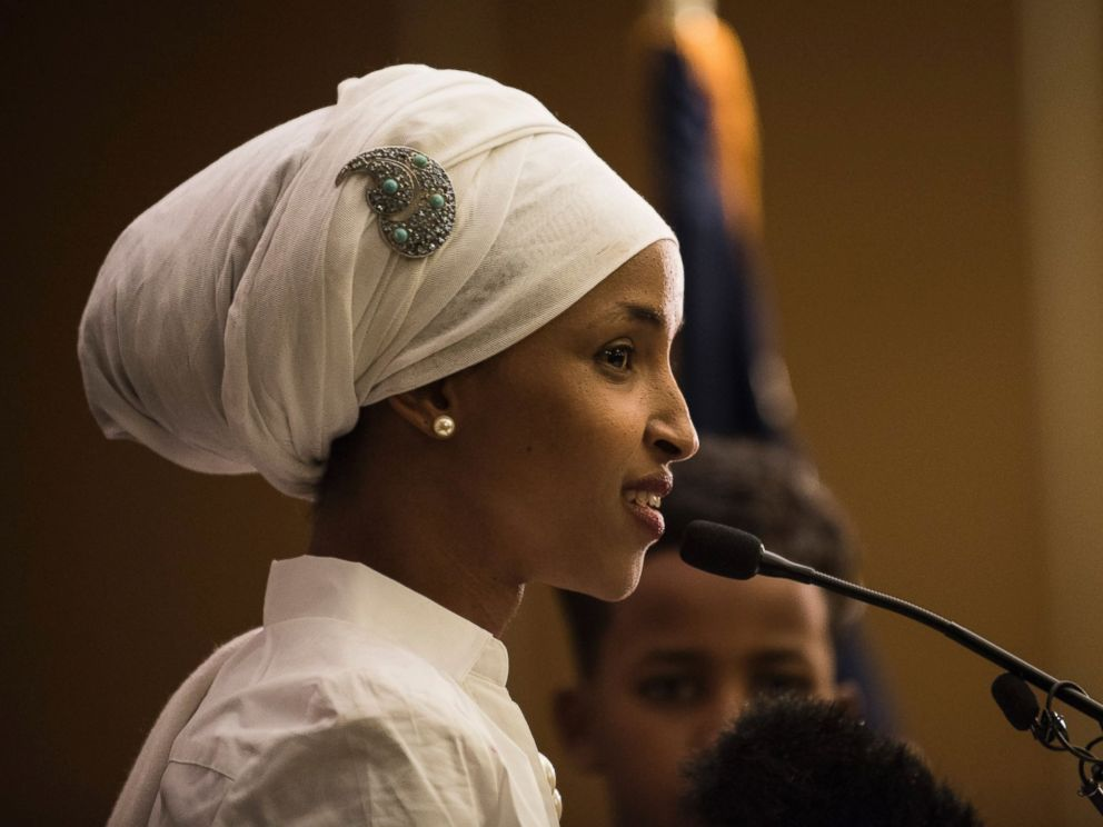 PHOTO: Ilhan Omar, a candidate for State Representative for District 60B in Minnesota, gives an acceptance speech on election night, Nov. 8, 2016, in Minneapolis. <p itemprop=