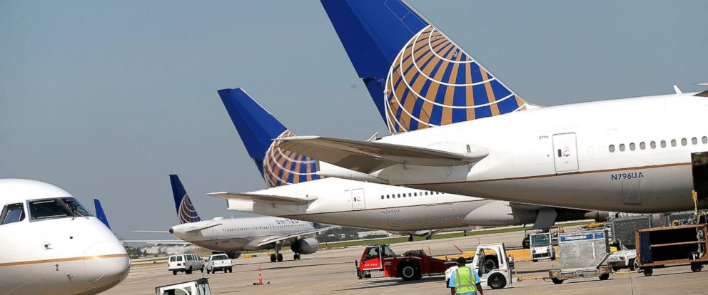 PHOTO: United Airlines jets sit at an Airport.