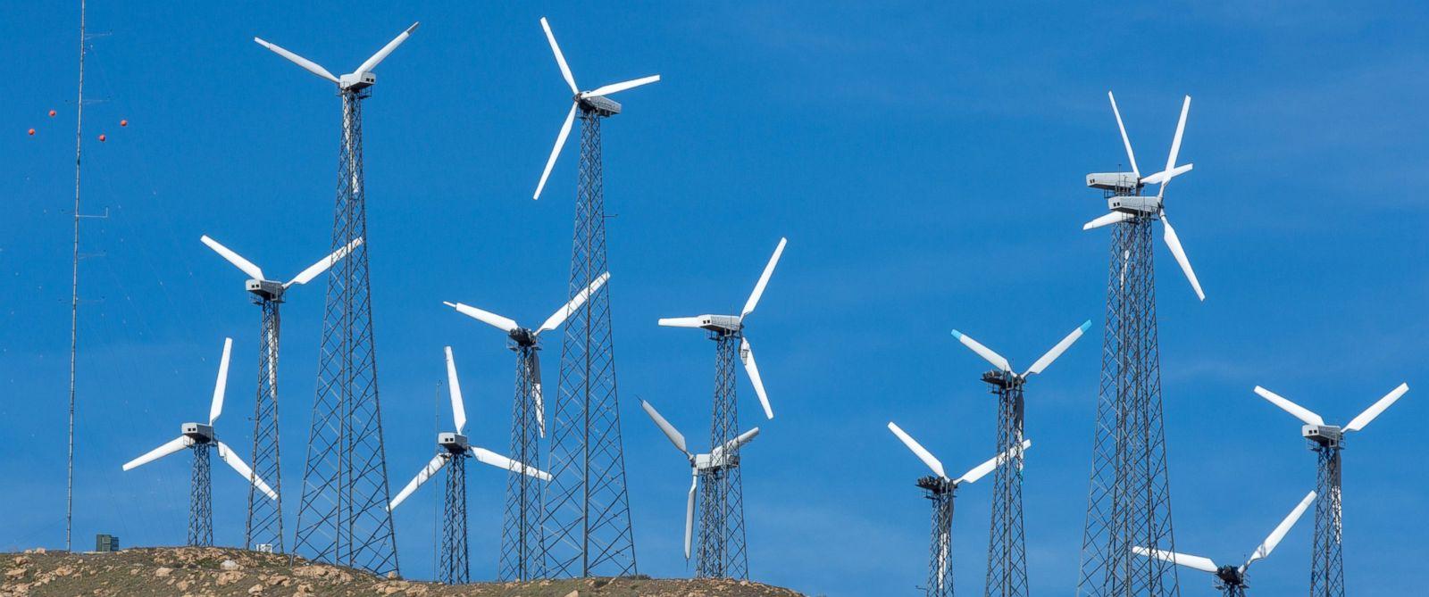 PHOTO: Wind turbines line a mountain ridge along Highway 58 as viewed on April 4, 2017, near Tehachapi, California.