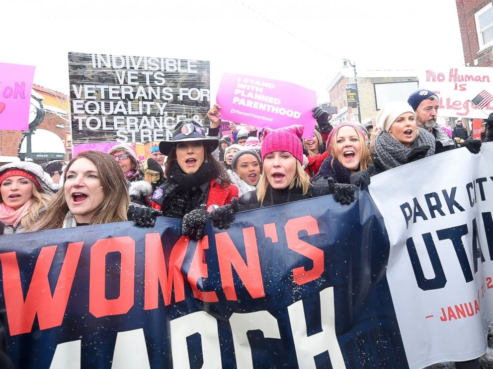 PHOTO: Jennifer Beals, Chelsea Handler and Charlize Theron participate in the Womens March on Main Street, Jan. 21, 2017 in Park City, Utah.