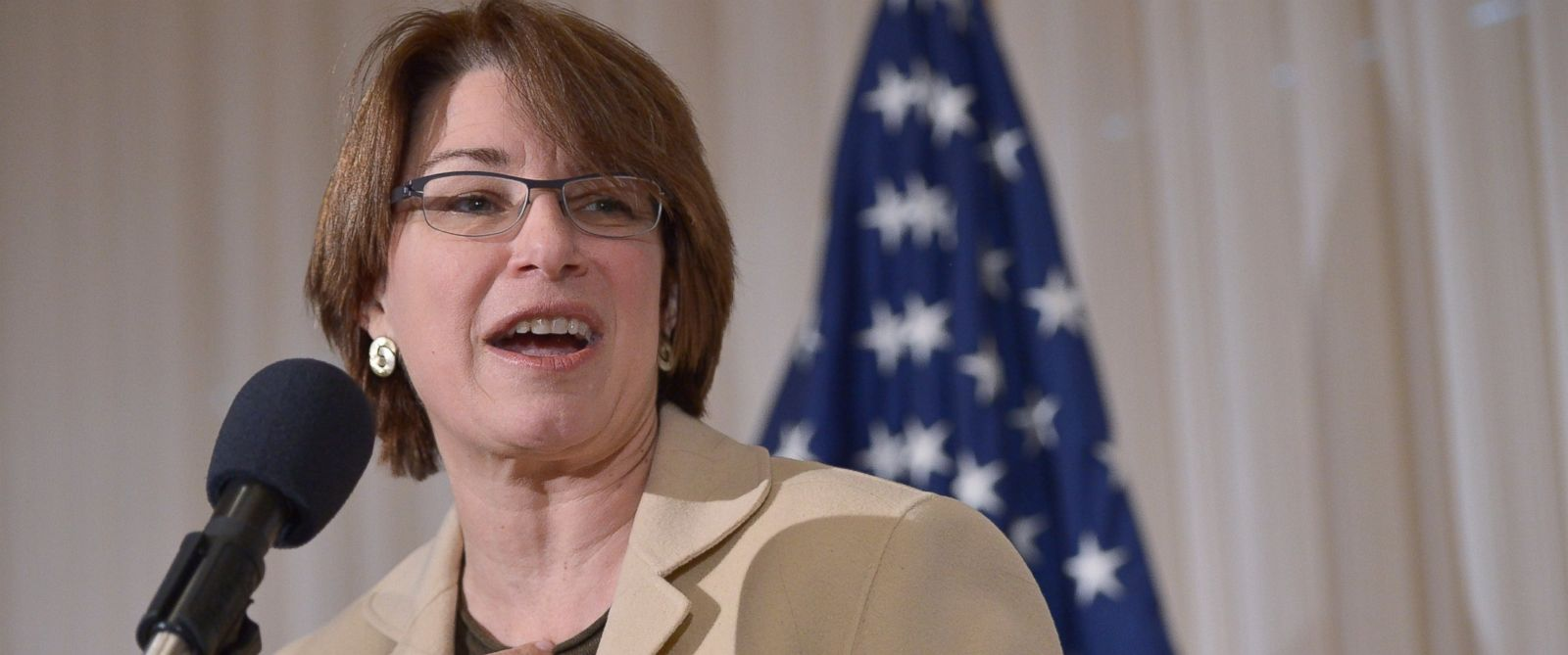PHOTO: Sen. Amy Klobuchar speaks during the launch of the U.S. Agriculture Coalition for Cuba at the National Press Club, Jan. 8, 2014, in Washington.