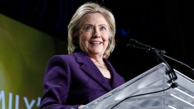 PHOTO: Hillary Clinton speaks after receiving the We Are EMILY award at the EMILYs List 30th Anniversary Gala at Hilton Washington Hotel on March 3, 2015 in Washington, DC.