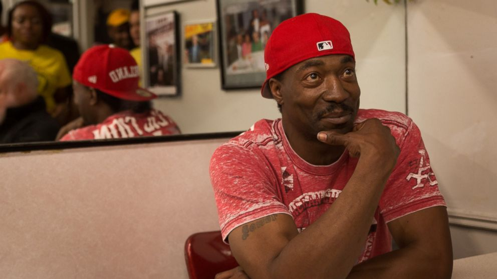 PHOTO: Charles Ramsey poses for customers at Bens Chili Bowl in downtown DC.
