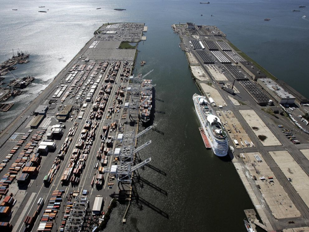 PHOTO: Aerial view of the Bayonne marine terminal facility unloading cargo from a ship, left, and the cruise ship terminal on the right, shown July 2007.