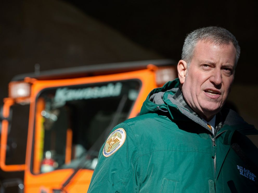 PHOTO: New York City Mayor Bill De Blasio speaks about the citys preparedness at the Spring Street salt shed on Jan. 21, 2016. Winter Storm Jonas is expected to hit New York City this weekend.