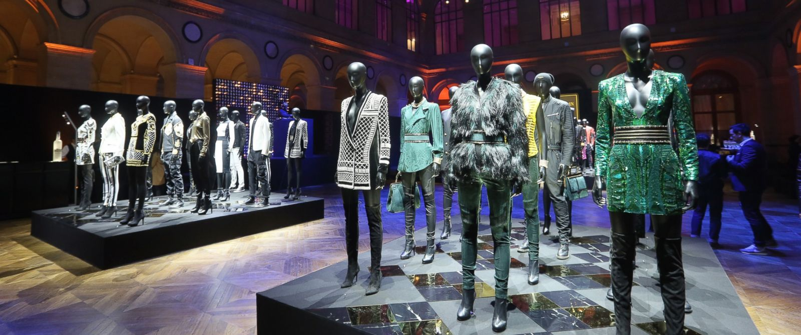 PHOTO:Outfits in display for the BALMAIN x H&M Paris Launch on Nov. 3, 2015 in Paris, France.