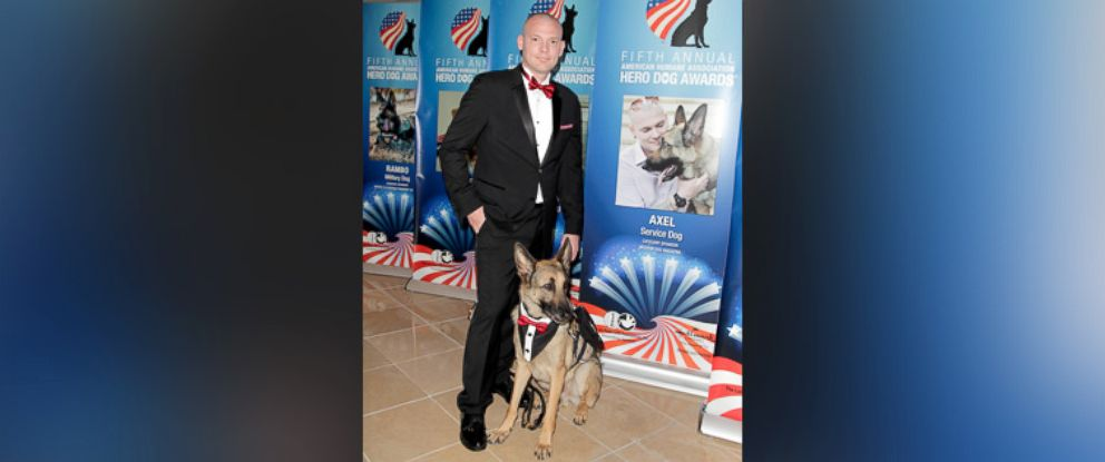 PHOTO: Axel, Service Dog Category Winner and Jason Haag attend the American Humane Associations 5th Annual Hero Dog Awards 2015 at The Beverly Hilton Hotel, Sept. 19, 2015, in Beverly Hills, Calif.