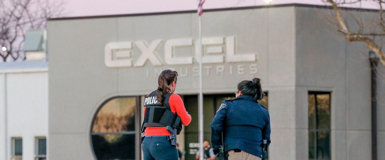 PHOTO: Police guard the front door of Excel Industries in Hesston, Kan., where a gunman reportedly killed up to seven people and injured many others on Feb. 25, 2016.
