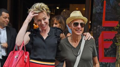 PHOTO: Portia De Rossi and Ellen DeGeneres are seen, June 19, 2014, in New York.