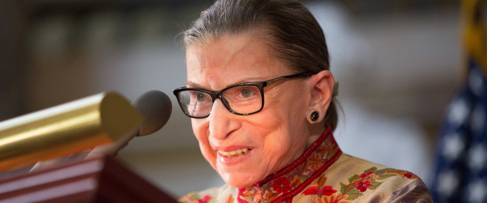 PHOTO: U.S. Supreme Court Justice Ruth Bader Ginsburg speaks at an annual Womens History Month reception hosted by Pelosi in the U.S. capitol building on Capitol Hill in Washington, March 18, 2015.