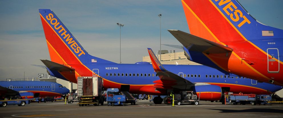 """PHOTO: Southwest Airlines aircraft are seen at Concourse """"C"""" at the Denver International Airport, February 20, 2015."""