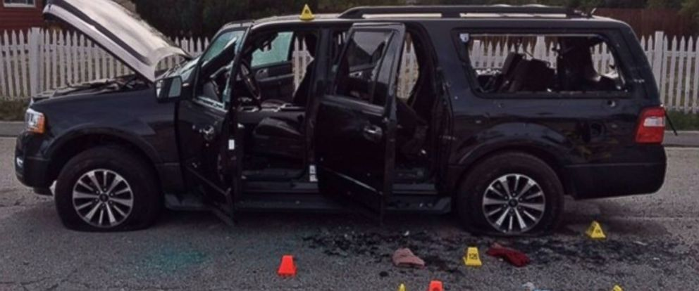 PHOTO: In this photo provided by the San Bernardino County Sherrifs Department, evidence markers are scattered around an SUV near the site of a shootout between police and suspects in the San Bernardino shootings, Dec. 4, 2015 in San Bernardino, Calif.