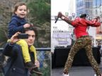 PHOTO: Orlando Bloom, left, seen in this Dec. 5, 2013 file photo taking a selfie with his son Flynn, right, rapper Big Freedia twerks during an event in Herald Square on Sept. 25, 2013.