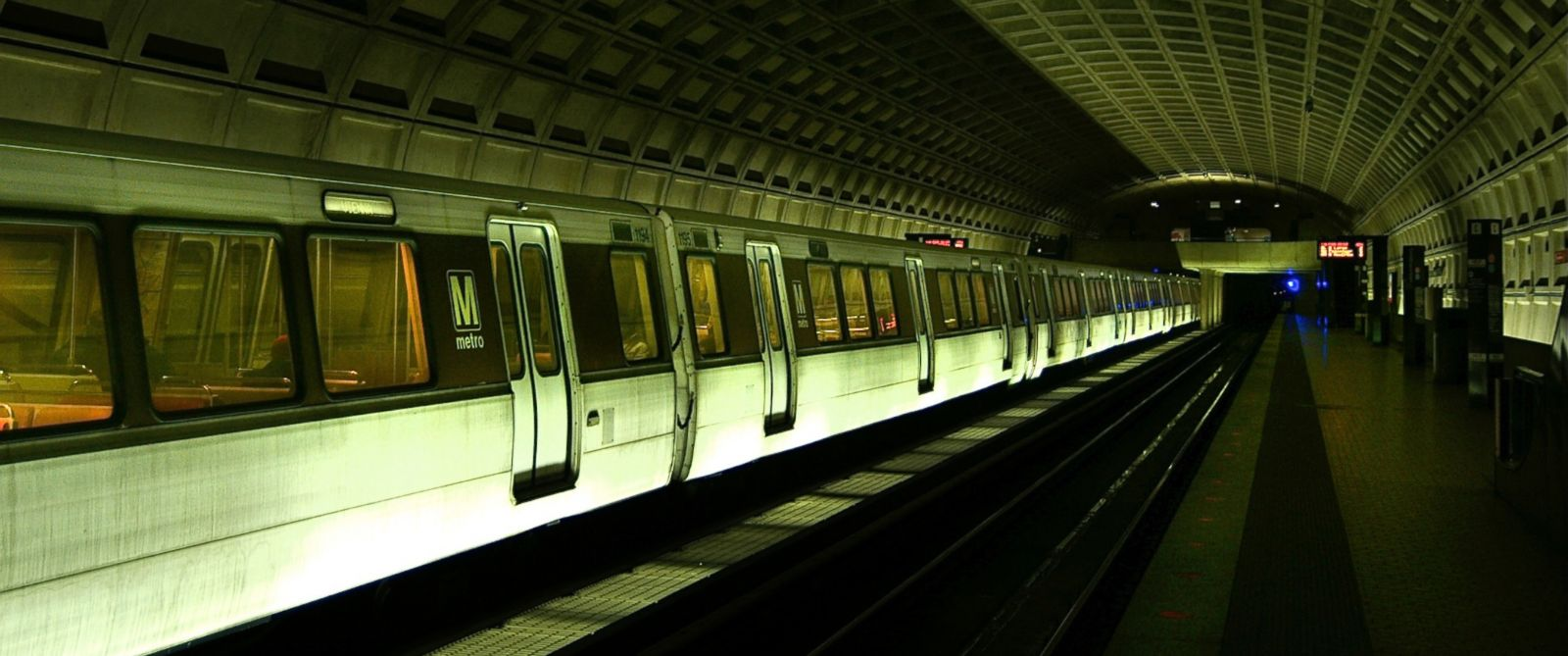 PHOTO: Washington DC metro train in an underground station is pictured in this undated photo.