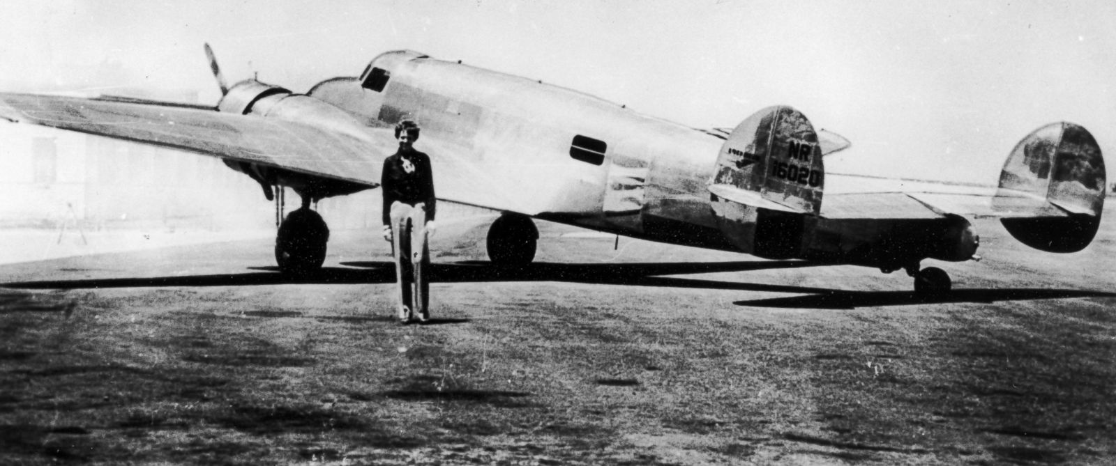 PHOTO: Amelia Earhart in front of her new plane, Electra, circa 1937.