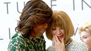 PHOTO: First Lady Michelle Obama and Vogue Editor in Chief Anna Wintour attend the Anna Wintour Costume Center Grand Opening at the Metropolitan Museum of Art, May 5, 2014 in New York.