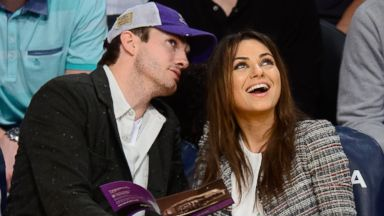 PHOTO: Ashton Kutcher and Mila Kunis attend basketball games between the New Orleans Pelicans and the Los Angeles Lakers at Staples Center, March 4, 2014 in Los Angeles, Calif.