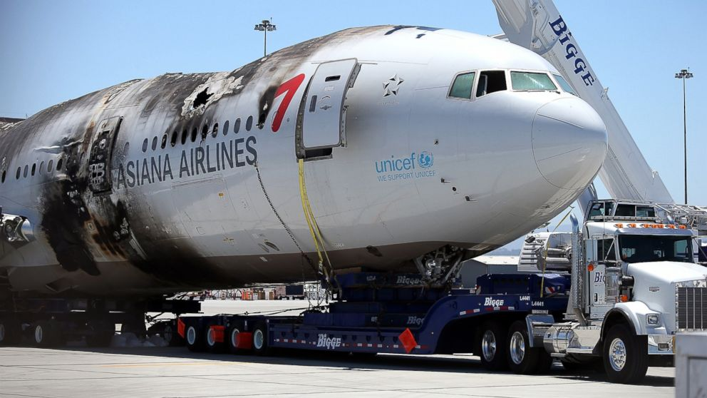 PHOTO: The wrecked fuselage of Asiana Airlines flight 214 is pictured in a storage area at San Francisco International Airport on July 12, 2013 in San Francisco, Calif.