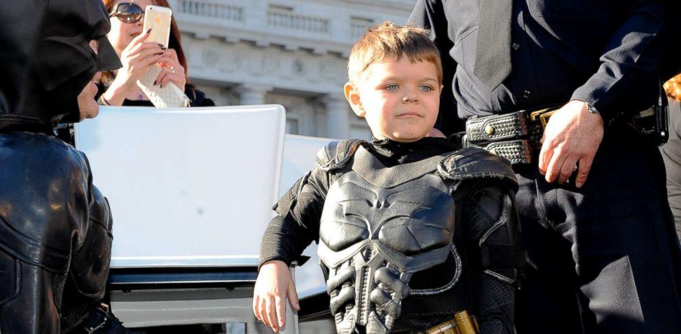 PHOTO: Batkid Miles Scott, 5, celebrates his special day at San Francisco City Hall, Nov. 15, 2013, in San Francisco.