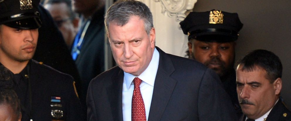 PHOTO: Bill de Blasio is pictured leaving the Christ Tabernacle Church after attending the funeral for New York Police Officer Rafael Ramos in New York City Dec. 27, 2014.