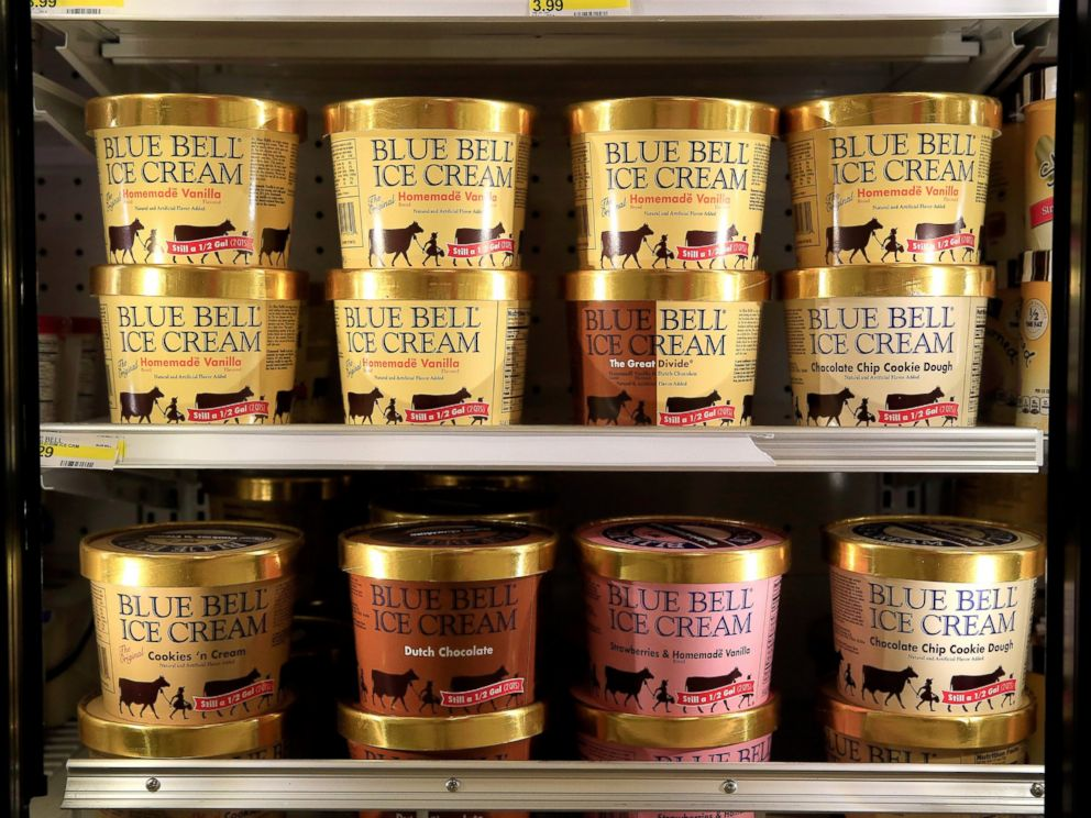 PHOTO: Blue Bell Ice Cream is seen on shelves of an Overland Park grocery store prior to being removed on April 21, 2015 in Overland Park, Kansas.