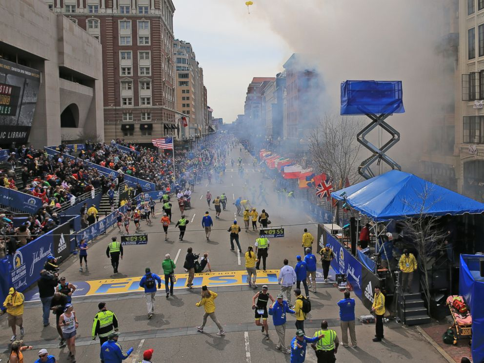 PHOTO: Two explosions went off near the finish line of the 117th Boston Marathon, in Boston, April 15, 2013.