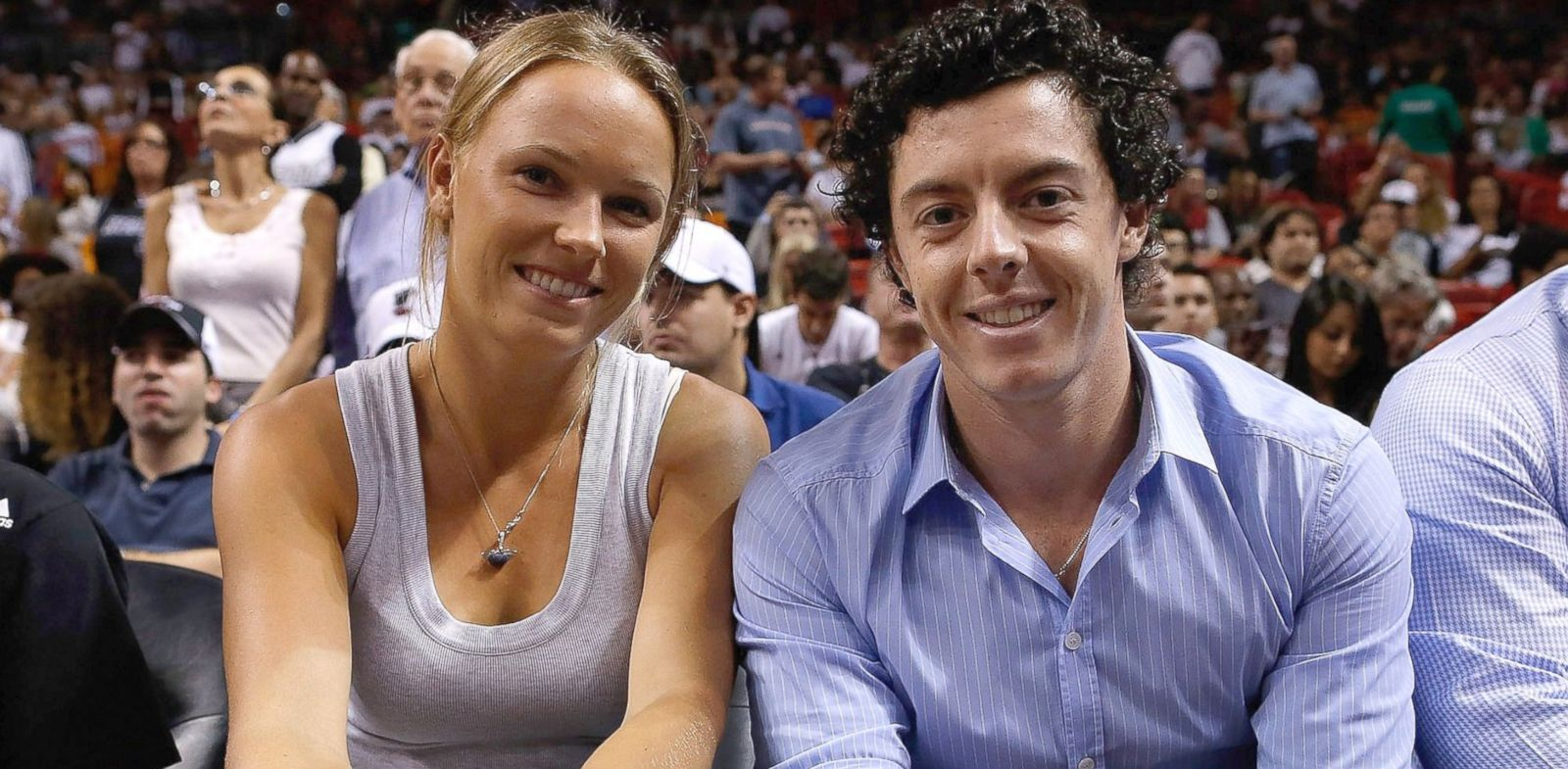 PHOTO: Caroline Wozniacki and Rory McIlroy watch a game between the Miami Heat and Washington Wizards, Dec. 15, 2012, in Miami, Fla.