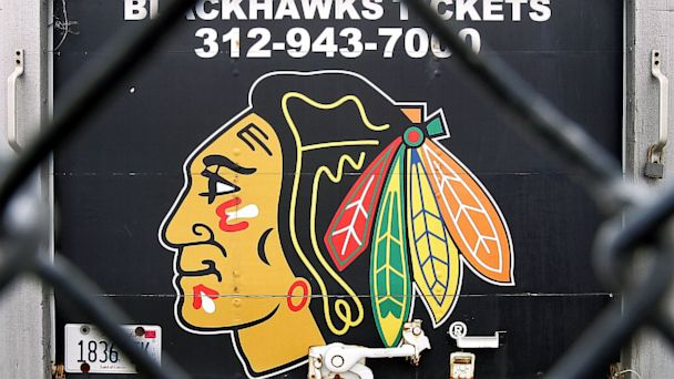 PHOTO: Blackhawks ticket information and team logo are seen on the back of a truck